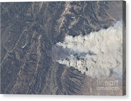 Teton National Forest Canvas Print - View From Space Of The Fontenelle Fire by Stocktrek Images