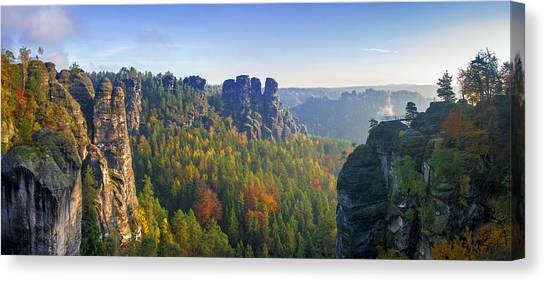 View From The Bastei Bridge In The Saxon Switzerland Canvas Print