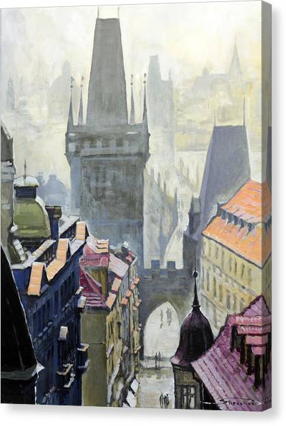 Oil On Canvas Print - View From The Mostecka Street In The Direction Of Charles Bridge by Yuriy Shevchuk
