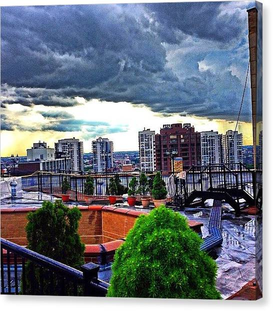 Hawks Canvas Print - View From The Rooftop After The Hawks by Michael Becht