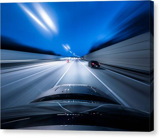 View From The Top Of A Car Driving Down Canvas Print by Darekm101
