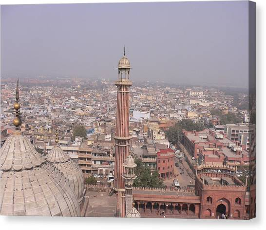View Of A Mosque (jama Masjid) And Delhi Canvas Print by Leontura