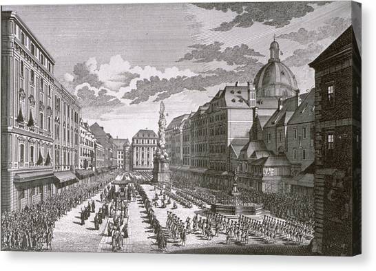 Baroque Canvas Print - View Of A Procession In The Graben Engraved By Georg-daniel Heumann 1691-1759 Engraving by Salomon Kleiner