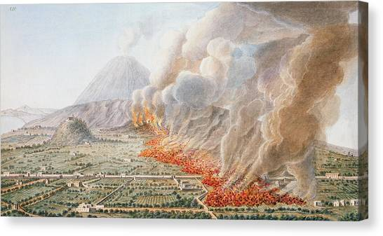 Mount Vesuvius Canvas Print - View Of An Eruption Of Mount Vesuvius by Pietro Fabris