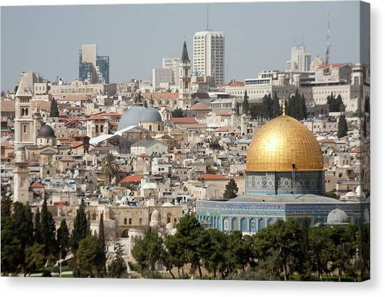 Coptic Art Canvas Print - View Of Ancient Walled City by Dave Bartruff