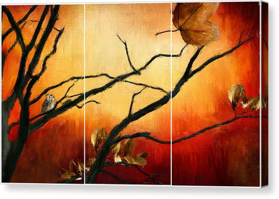 Maple Leaf Art Canvas Print - View Of Autumn by Lourry Legarde