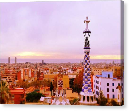 View Of Barcelona Canvas Print by Maeve O Connell