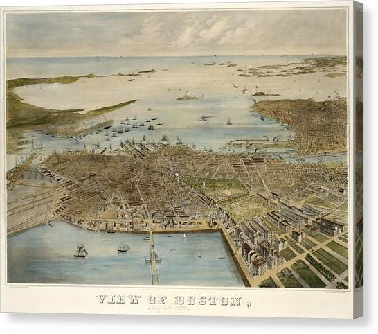 View Of Boston July 4th 1870 Canvas Print