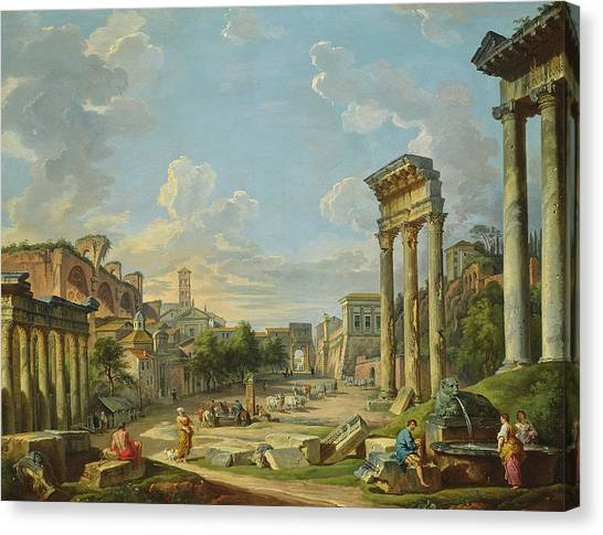 The Forum Canvas Print - View Of Campo Vaccino In Rome by Giovanni Paolo Panini
