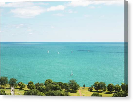 View Of Chicago, Lake Michigan, With Canvas Print