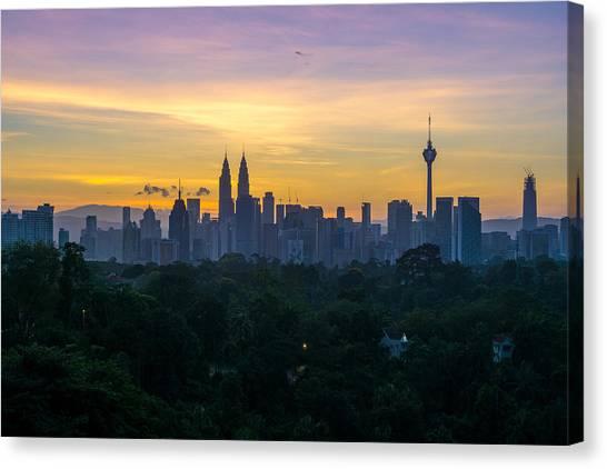 View Of Cityscape Against Sky During Sunset Canvas Print by Shaifulzamri Masri / EyeEm
