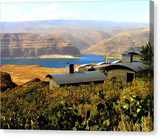 View Of Columbia River Canvas Print by Kay Gilley