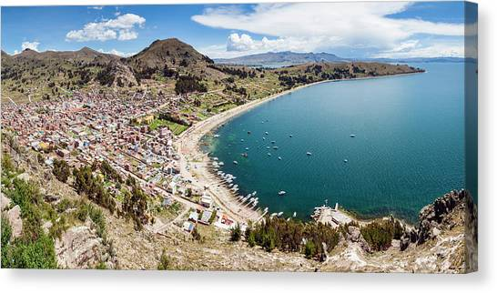 Bolivian Canvas Print - View Of Copacabana And Lake Titicaca by Panoramic Images