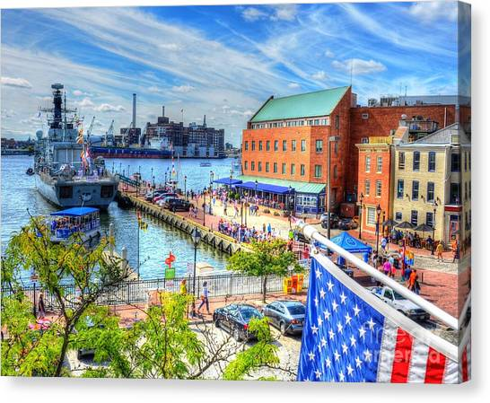 Fells Point Baltimore Maryland Canvas Print - View Of Fells Point by Debbi Granruth