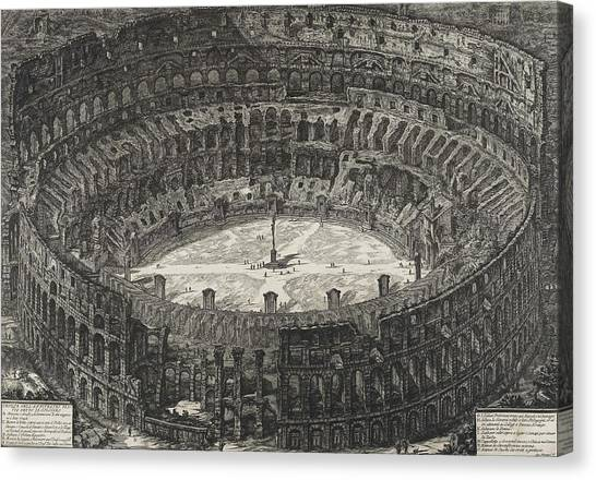The Colosseum Canvas Print - View Of Flavian Amphitheater Called The Colosseum by Giovanni Battista Piranesi