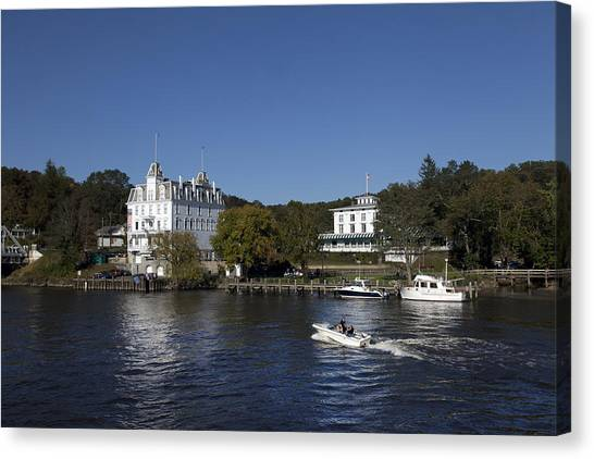 View Of Goodspeed Opera House In East Haddam  From The Connecticut Rive Canvas Print