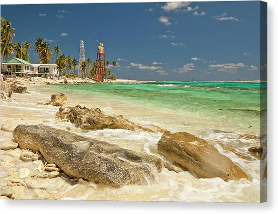 Belize Canvas Print - View Of Lighthouse On Half Moon Caye by Michele Benoy Westmorland