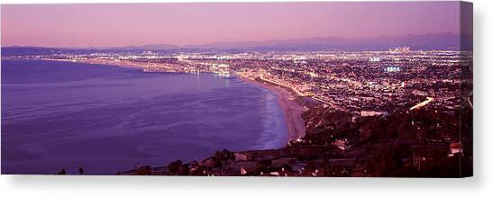 Santa Monica Canvas Print - View Of Los Angeles Downtown by Panoramic Images