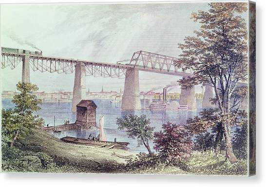 Steam Trains Canvas Print - View Of Louisville Coloured Engraving by Asa Coolidge Warren
