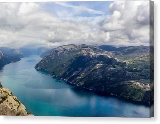 Preikestolen Canvas Print - View Of Lysefjord From Preikestolen by Aldona Pivoriene