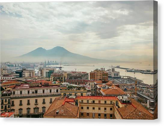 View Of Mount Vesuvius Over Naples Canvas Print by Kevin C Moore