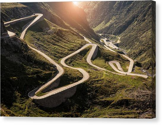 View Of Old Road To Gotthard Pass Canvas Print by Walter Zerla