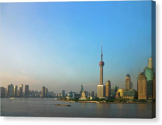Tv Tower Canvas Print - View Of Pudong Skyline Dominated by Keren Su