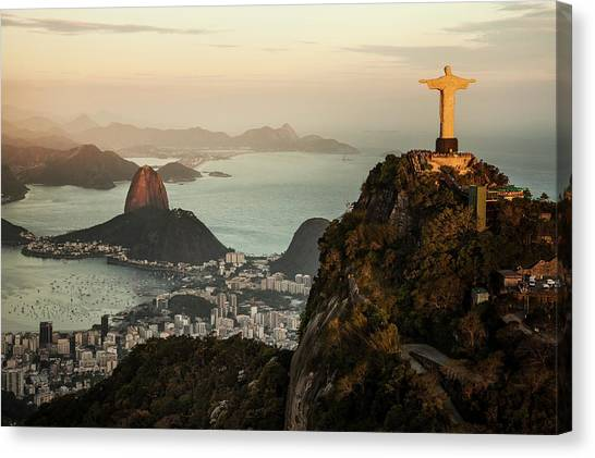 View Of Rio De Janeiro At Sunset Canvas Print