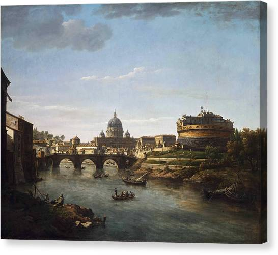 Marlow Canvas Print - View Of Rome From The Tiber by William Marlow