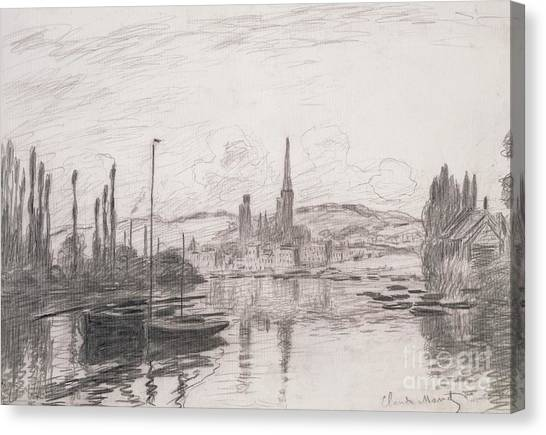 Signature Canvas Print - View Of Rouen by Claude Monet