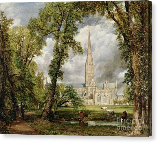 Bishops Canvas Print - View Of Salisbury Cathedral From The Bishop's Grounds by John Constable