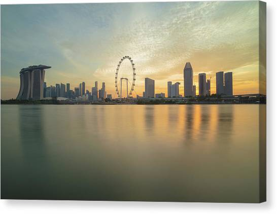 View Of Singapore Skyscraper Canvas Print by Natthawat
