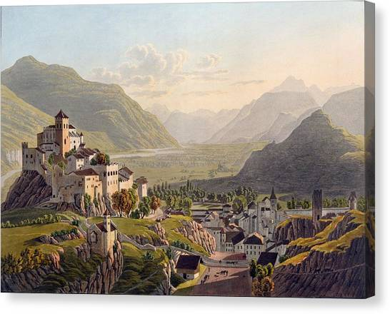 Alpine Canvas Print - View Of Sion, Illustration From Voyage by Gabriel L. & Lory, Mathias G. Lory