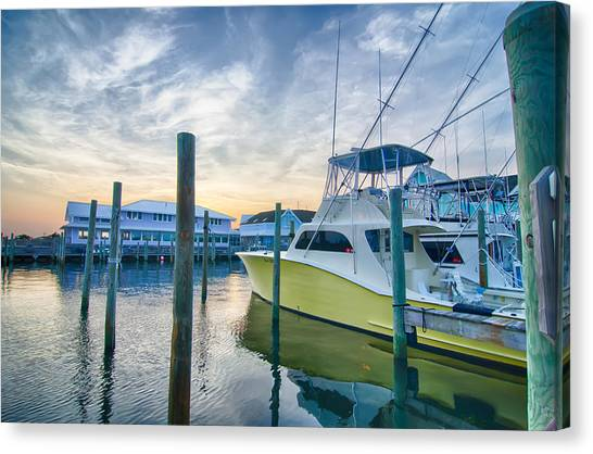 View Of Sportfishing Boats At Marina Canvas Print