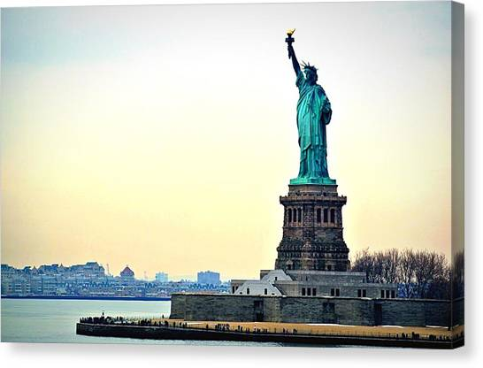 View Of Statue Of Liberty Canvas Print