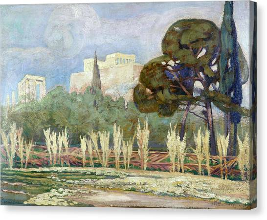 The Acropolis Canvas Print - View Of The Acropolis by Konstantinos Maleas