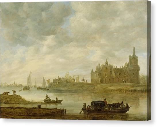 Castle Canvas Print - View Of The Castle Of Wijk At Duurstede by Jan van Goyen