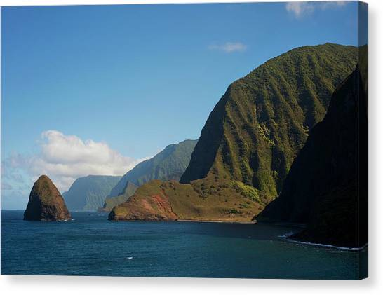 Kalaupapa Cliffs Canvas Print - View Of The Cliffs And Ocean by Elyse Butler