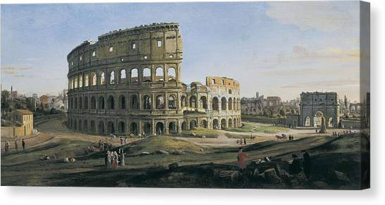 The Colosseum Canvas Print - View Of The Colosseum With The Arch by Everett