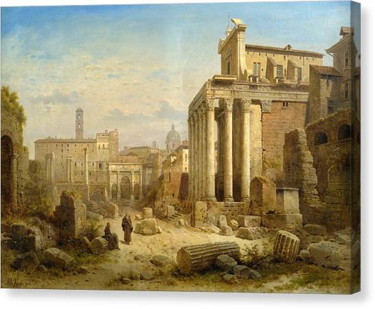 The Forum Canvas Print - View Of The Forum Romanum With The Arch Of Septimius Severus And The Temple Of Faustina And Antonius by Albert Rieger