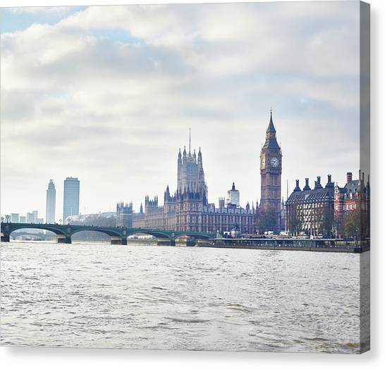 View Of The Houses Of Parliament And Canvas Print by Frank And Helena