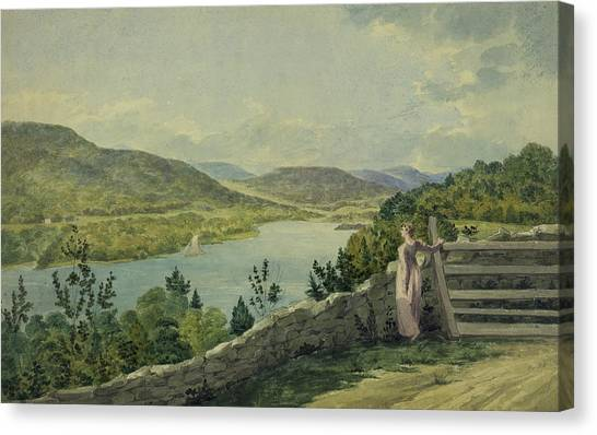 Mountain West Canvas Print - View Of The Hudson Circa 1817 by Aged Pixel