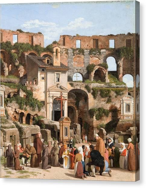 The Colosseum Canvas Print - View Of The Interior Of The Colosseum by Christoffer Wilhelm Eckersberg