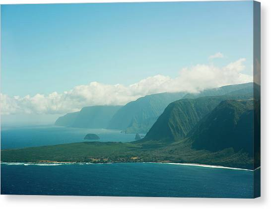 Kalaupapa Cliffs Canvas Print - View Of The Isolated Peninsula by Elyse Butler