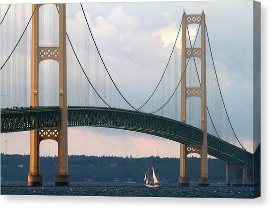 Interstates Canvas Print - View Of The Mackinac Bridge Connecting by David R. Frazier