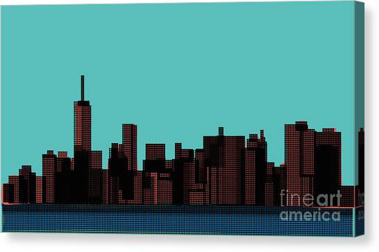 View Of The Manhattan In The Pop Art Canvas Print by Finlandi