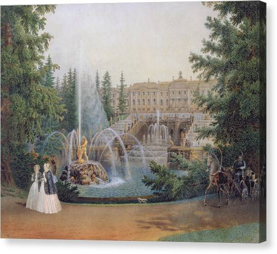 Wrestling Canvas Print - View Of The Marly Cascade From The Lower Garden Of The Peterhof Palace by Vasili Semenovich Sadovnikov
