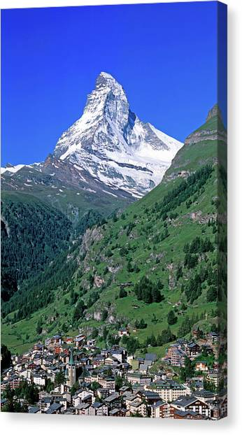 Matterhorn Canvas Print - View Of The Matterhorn And The Town by Panoramic Images