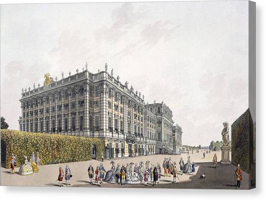 Rococo Art Canvas Print - View Of The Palace Of Schoenbrunn by Laurenz Janscha