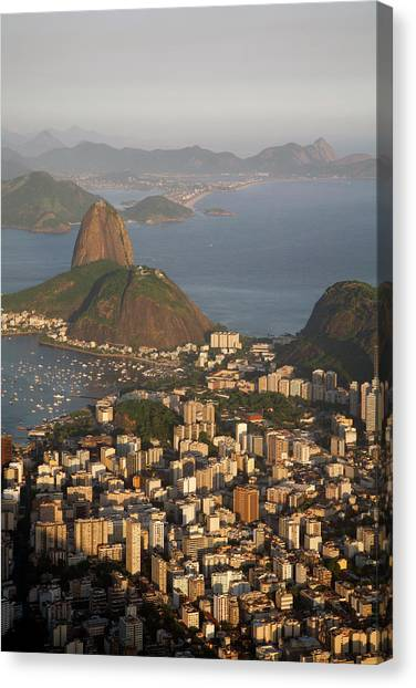 Rio De Janeiro Skyline Canvas Print - View Of The Pao Acucar Or Sugar Loaf by Yadid Levy